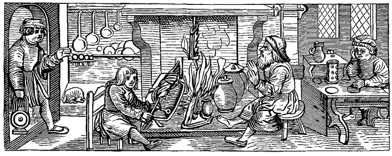 A 16th century woodcut shows the interior of a kitchen. In medieval Europe, cooks combined contrasting flavors and spices in much the same way that Indian cooking still does today.