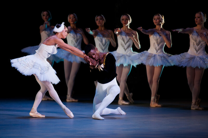 Misty Copeland (left) and Brooklyn Mack play Odette/Odile and Prince Siegfried in this year's Washington Ballet production of Swan Lake. It is the first time ever that two black dancers star in Swan Lake in a major American production.