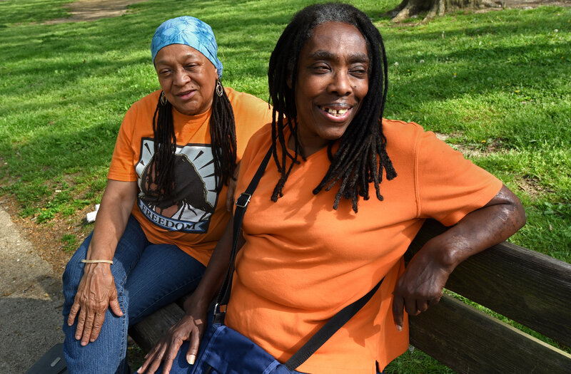 In Philadelphia's Clark Park, MOVE members Pam Africa (left) and Ramona Africa.