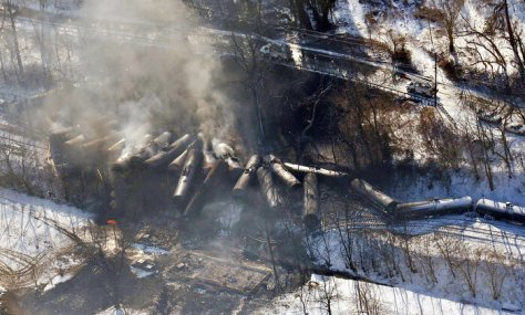 A train carrying crude oil derailed in Mount Carbon, W.Va., in February, causing a large fire that forced hundreds of people to evacuate their homes.