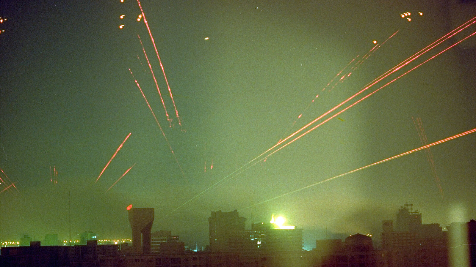 Iraqi antiaircraft fire lights up the skies over Baghdad in response to U.S. warplanes that bombed the Iraqi capital in the early hours of Jan. 18, 1991. The U.S. campaign drove the Iraqis out of Kuwait in a little over a month.
