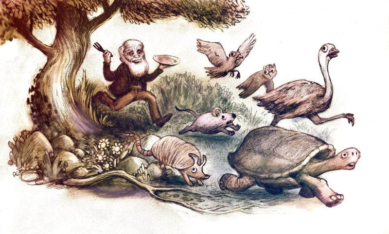 Caricatura de Charles Darwin persiguiendo animales para comérselos