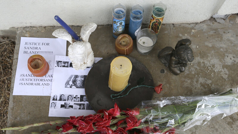 A memorial sits outside the Waller County Jail last month in Hempstead, Texas. Activists have taken to demonstrating outside the jail, where Sandra Bland died in her cell. Photo: Pat Sullivan/AP