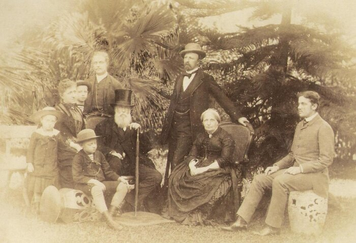 The Brazilian royal family, pictured in 1887, included, from left to right: Antonio, Isabel, Pedro, Luís (seated), Augusto, Emperor Pedro II,  Gaston, Empress Teresas Cristina and Pedro Augusto. Under the Brazilian system of enfiteuse, which grants land rights forever, descendants of the family are entitled to receive tax today.