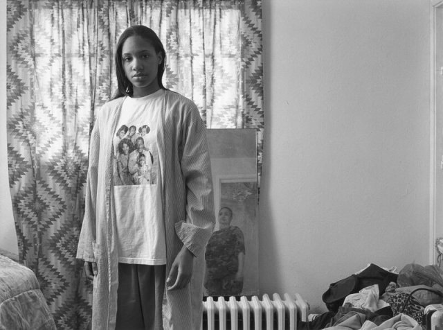 LaToya Ruby Frazier has been taking pictures of her hometown and family for two decades. Pictured here: Huxtables, Mom and Me, 2008.