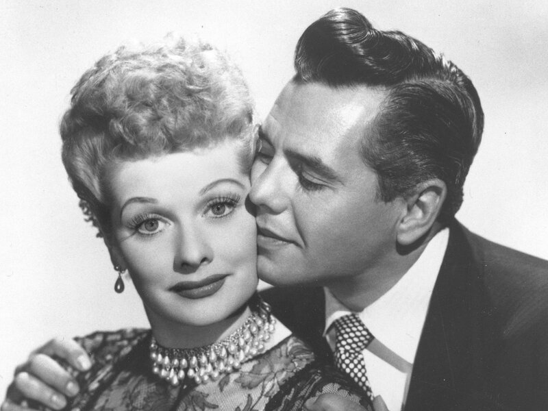 Comedian-actress Lucille Ball and her husband, musician-actor Desi Arnaz, stars of I Love Lucy.