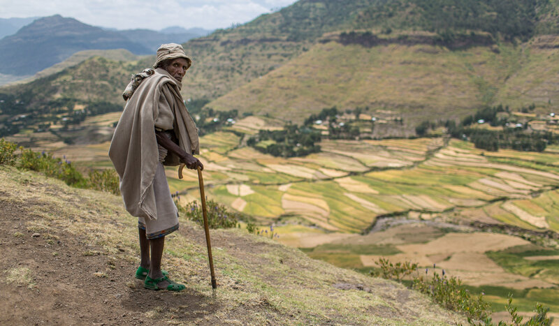 A farmer in Ethiopia, in the grips of its worst drought in decades.