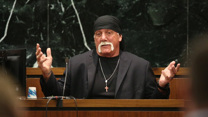 Hulk Hogan, whose real name is Terry Bollea, testifies in court on Tuesday during his trial against Gawker Media, in St Petersburg, Fla.