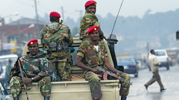 In this file photo, members of the Ethiopian army patrol the streets of Addis Ababa in 2005.