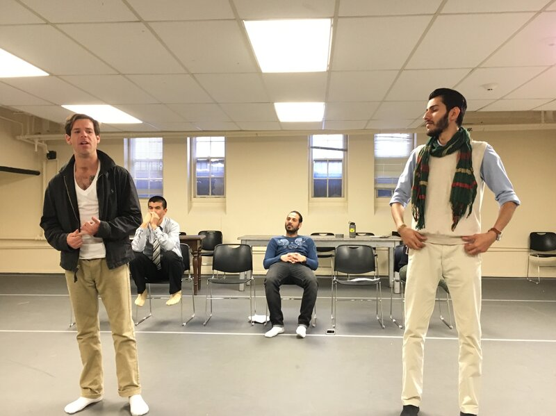 Former Marine Tom Burke (left) and Maher Mahmood, an Iraqi refugee, rehearse for the play Voices From the Long War at the Yale Cabaret building on the Yale campus.