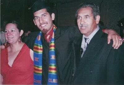 Frankie with his mother, Margarita, and father, Francisco, at his graduation from Stanford in 2007.