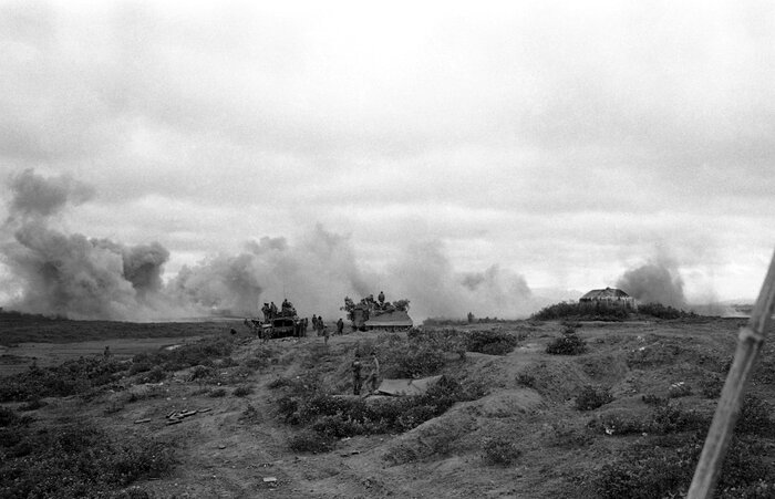 Smoke rises from a B-52 airstrike on a North Vietnamese tank column about 15 miles west of Dong Ha on April 18, 1972. Quang Tri province was hit hardest in the war.