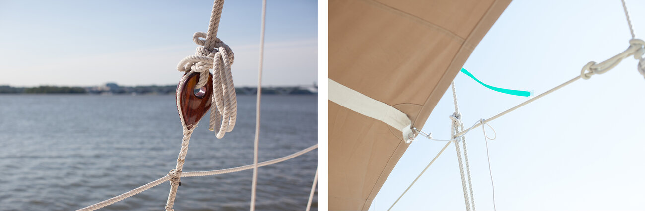 Modern updates include this rope rather than the coconut fiber that was used on Hawaiian canoes in the past. The small flag (right) that flutters above the canvas is one tool that navigators use when they can't see the stars. Knowing the direction the wind is blowing and watching the waves helps them to understand their direction when it is cloudy.