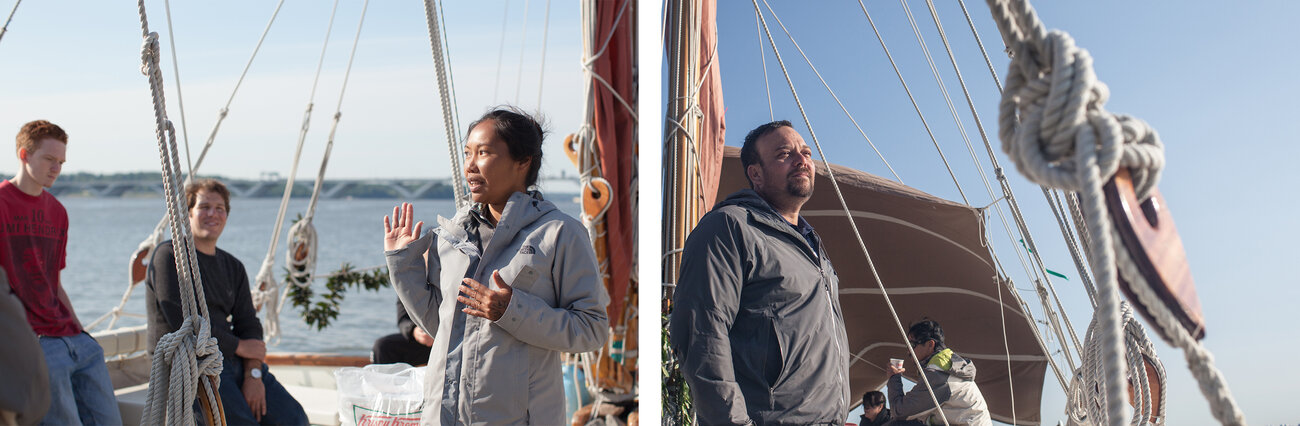 Left: Apprentice navigator Kala Tanaka (right) talks to students from the Alexandria Seaport Foundation about how the boat is navigated, during one of many educational tours offered while the boat is in port. Right: Na'alehu Anthony took leave from his job as chief executive of a television company to train for and join the voyage.