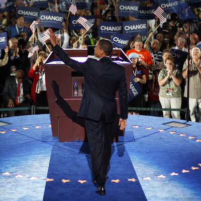 Barack Obama accepts the Democratic presidential nomination at the 2008 Democratic National Convention on Aug. 28, 2008, in Denver.