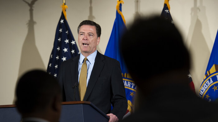 FBI Director James Comey makes a statement at FBI Headquarters in Washington, D.C. on Tuesday. Comey said 110 emails sent or received on Hillary Clinton's server contained classified information.