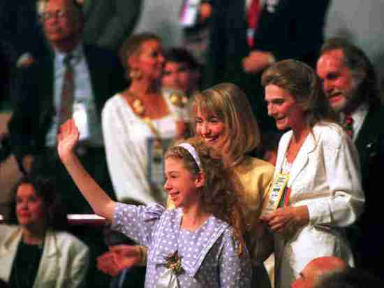 Chelsea Clinton with her mother, Hillary Clinton, at the 1992 Democratic National Convention in New York City where her father accepted the Democratic nomination.