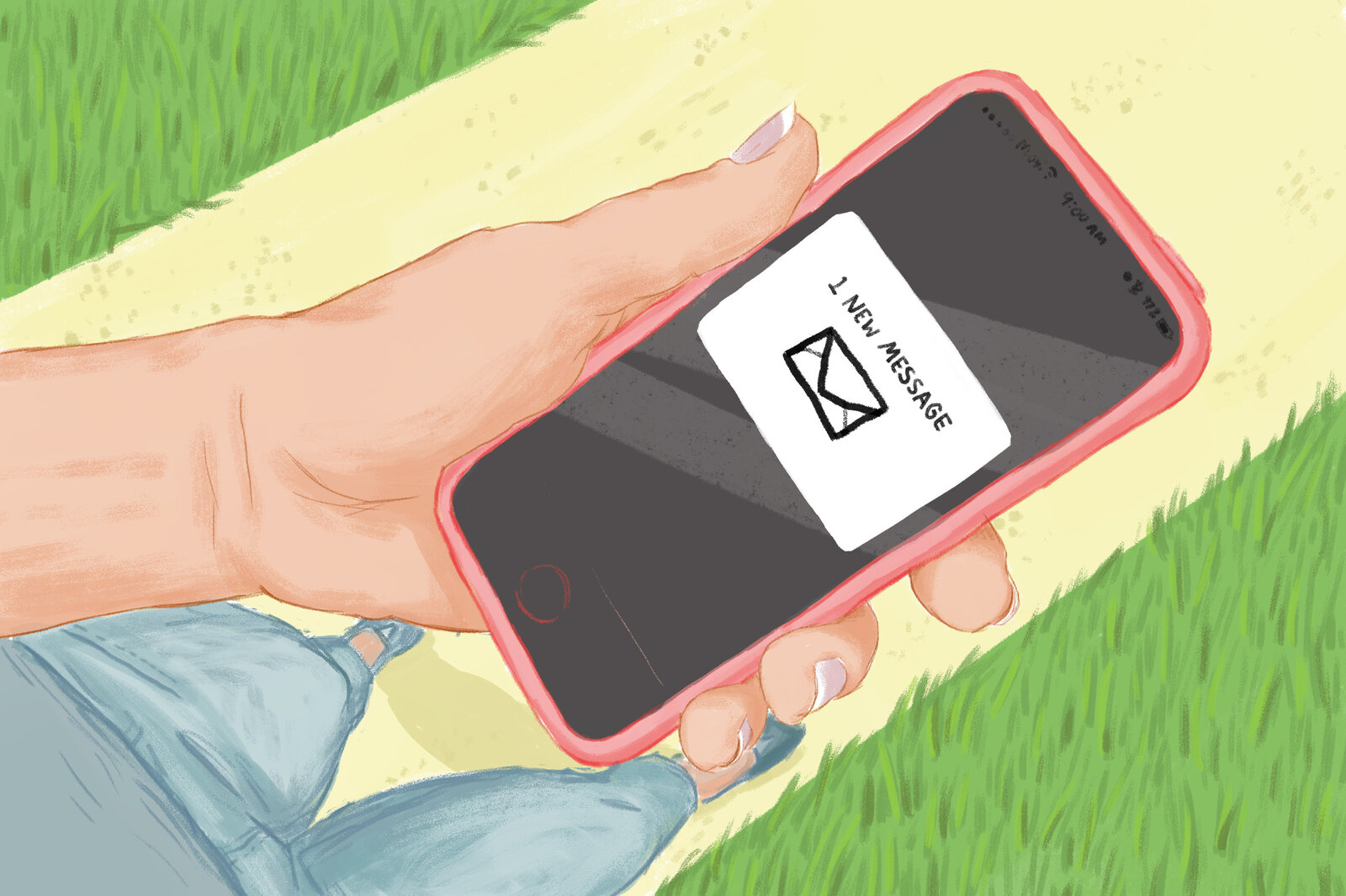 College student holding phone out to view text reminder