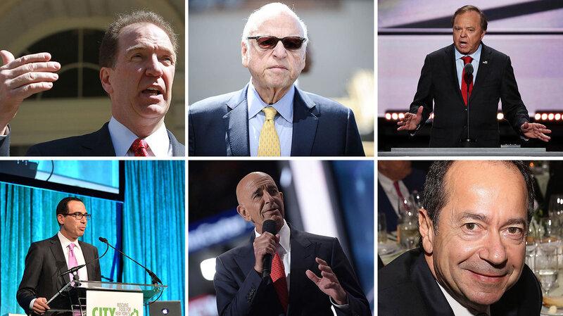 Top row, left to right: David Malpass, Howard Lorber, Harold Hamm; Bottom row, left to right: Steve Mnuchin, Tom Barrack, John Paulson