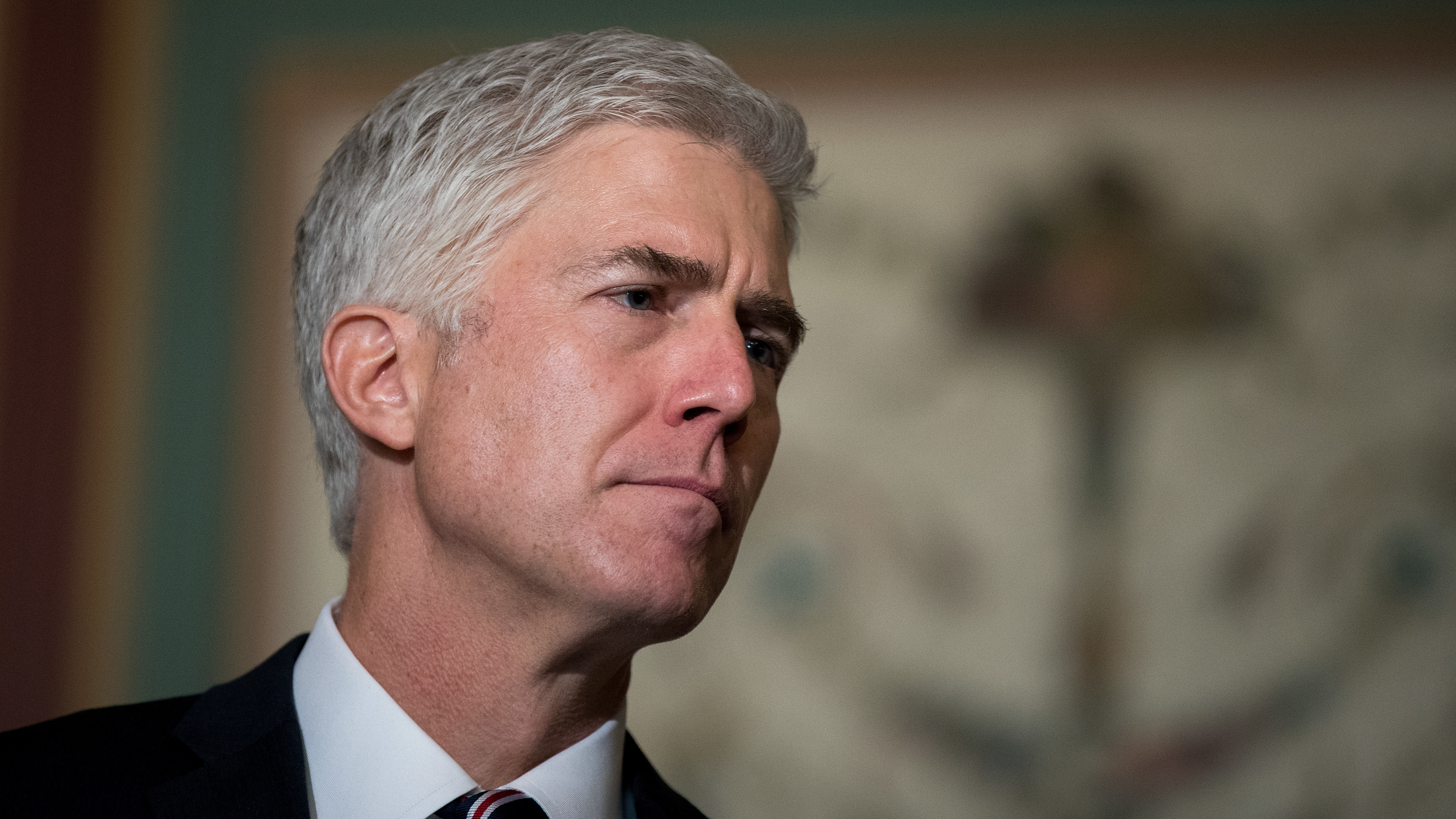 Supreme Court nominee Neil Gorsuch appears before reporters before a meeting on Capitol Hill on Feb. 1.