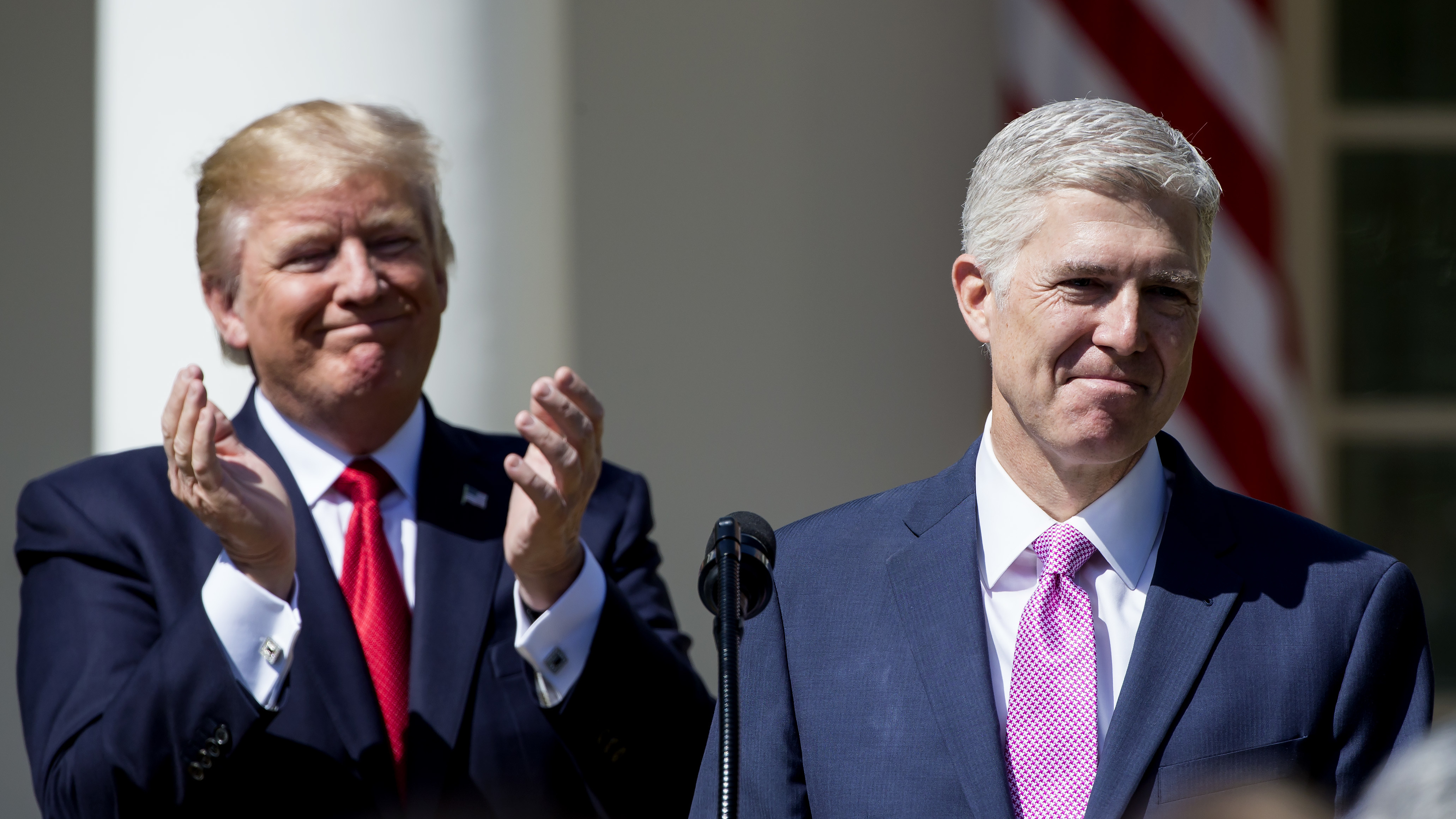 President Trump introduces Supreme Court Justice Neil Gorsuch in the Rose Garden after Gorsuch