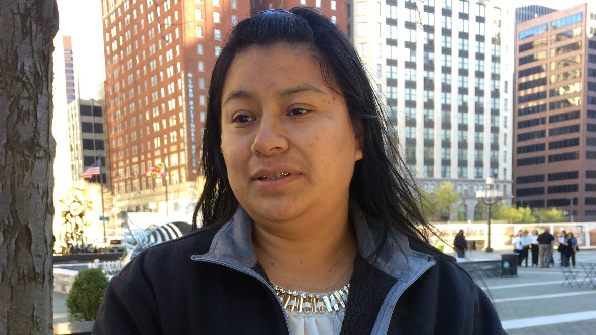 """Florinda Lorenzo came to the U.S. from Guatemala 14 years ago. She checks in ICE regularly — a requirement stemming from a 2010 arrest, though the charges were later dropped. She says the check-ins have become """"painful and stressful"""" because she"""