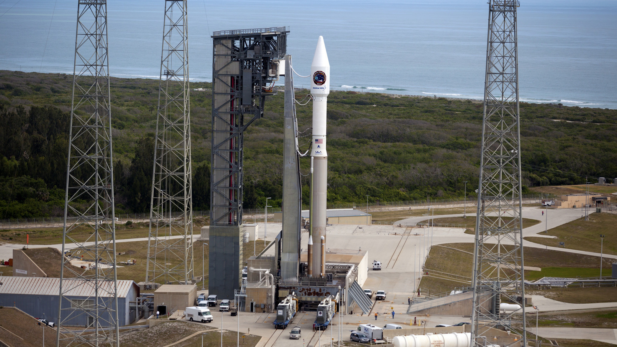 The United Launch Alliance Atlas V rocket, with the Orbital ATK Cygnus pressurized cargo module, stands ready for launch on the pad at Space Launch Complex 41 at Cape Canaveral Air Force Station in Florida.