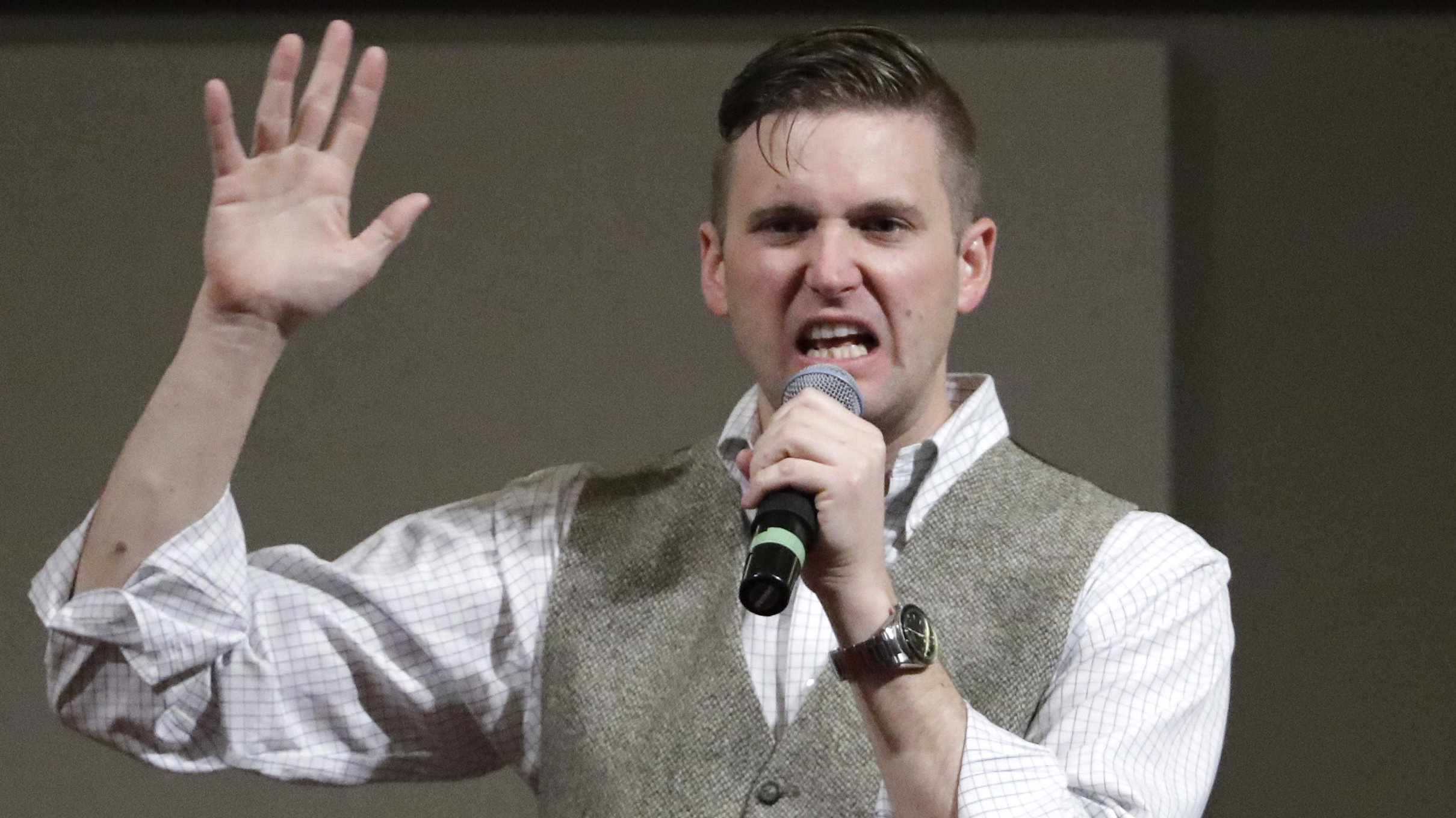 """Richard Spencer, a white nationalist who claims to have coined the term """"alt-right,"""" speaks at Texas A&M in College Station, Texas, in Dec. 6, 2016."""