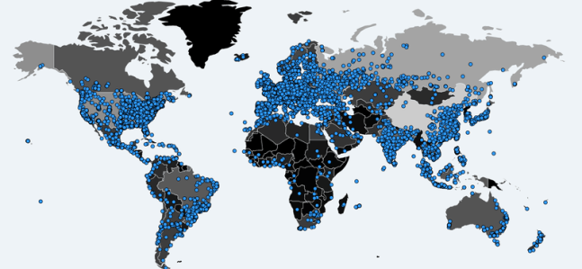 Data protection, a map of Ransomware victims.