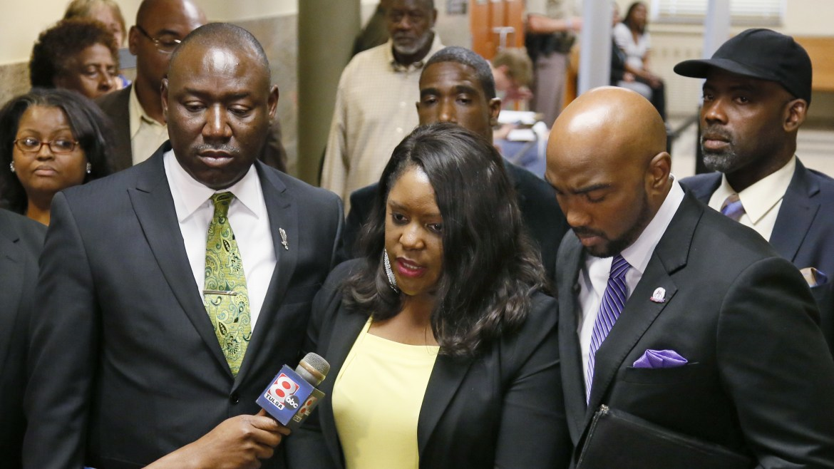 """""""Betty Shelby murdered my brother,"""" Tiffany Crutcher, center, said after officer Shelby was acquitted in the death of Terence Crutcher."""