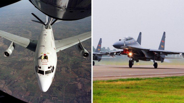 A pair of Chinese SU-30 fighter jets, like those pictured right, intercepted a U.S. Air Force WC-135 Constant Phoenix aircraft, like the one pictured left, on Wednesday over the East China Sea.
