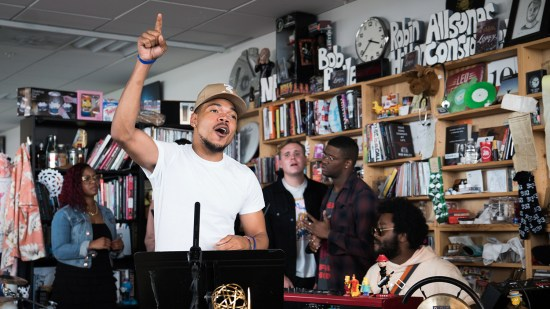 Chance The Rapper performs a Tiny Desk Concert on June 5, 2017. (Claire Harbage/NPR)