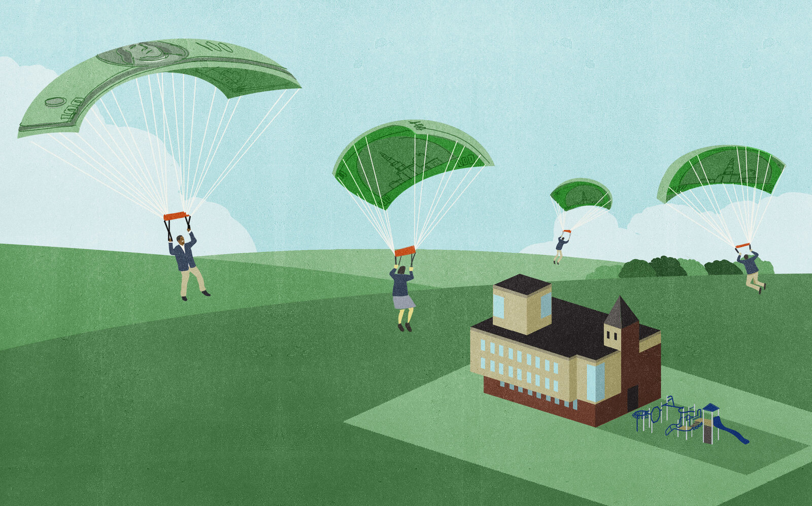 Kids parachuting into a private school with voucher money