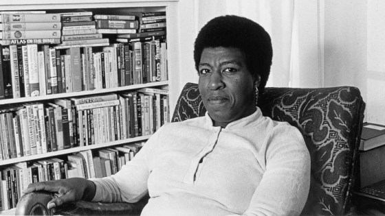 Octavia Butler at home.  A lifelong bibilophile, she considered libraries sacred spaces.