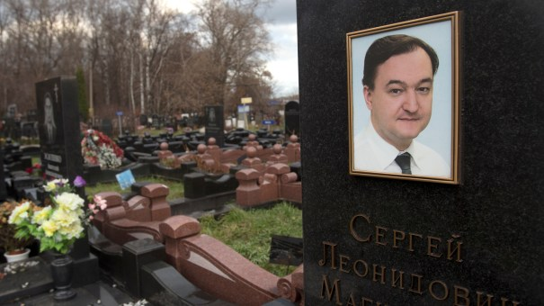 A tombstone on the grave of lawyer Sergei Magnitsky who died at age 37 in a Moscow prison in 2009.
