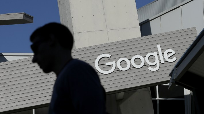 A man walks past a building on the Google campus in Mountain View, Calif. Google search results about health can be influential, but sometimes they can be unreliable or wrong.