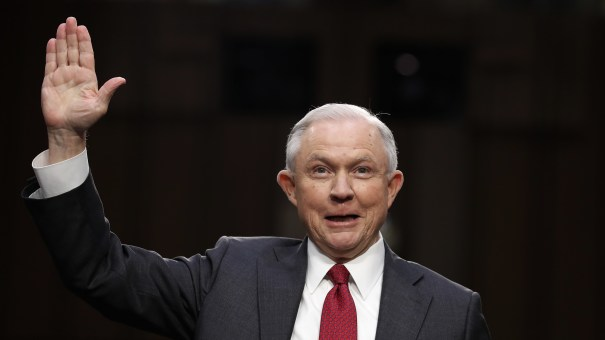 """Attorney General Jeff Sessions as he was sworn-in on Capitol Hill in Washington, D.C., in June. He testified that suggestions that he colluded with Russia to interfere in the U.S. presidential election was a """"contemptible lie."""""""