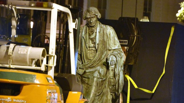 Crews worked to remove the statue of Supreme Court judge and segregationist Roger Taney from the front lawn of the Maryland State House late Thursday night. Taney wrote the 1857 Dred Scott decision that defended slavery and said black Americans could never be citizens.