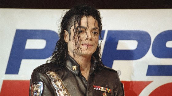 Michael Jackson appears at a news conference in New York in  1992, where it was announced that a marketing agreement had been struck between Jackson and Pepsi-Cola International.