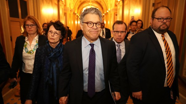 Sen. Al Franken, D-Minn., and his wife Franni Bryson (L) arrive at the U.S. Capitol Building on December 7, 2017, in Washington, D.C. Franken announced that he will be resigning in the coming weeks after being accused by several women of sexual harassment.