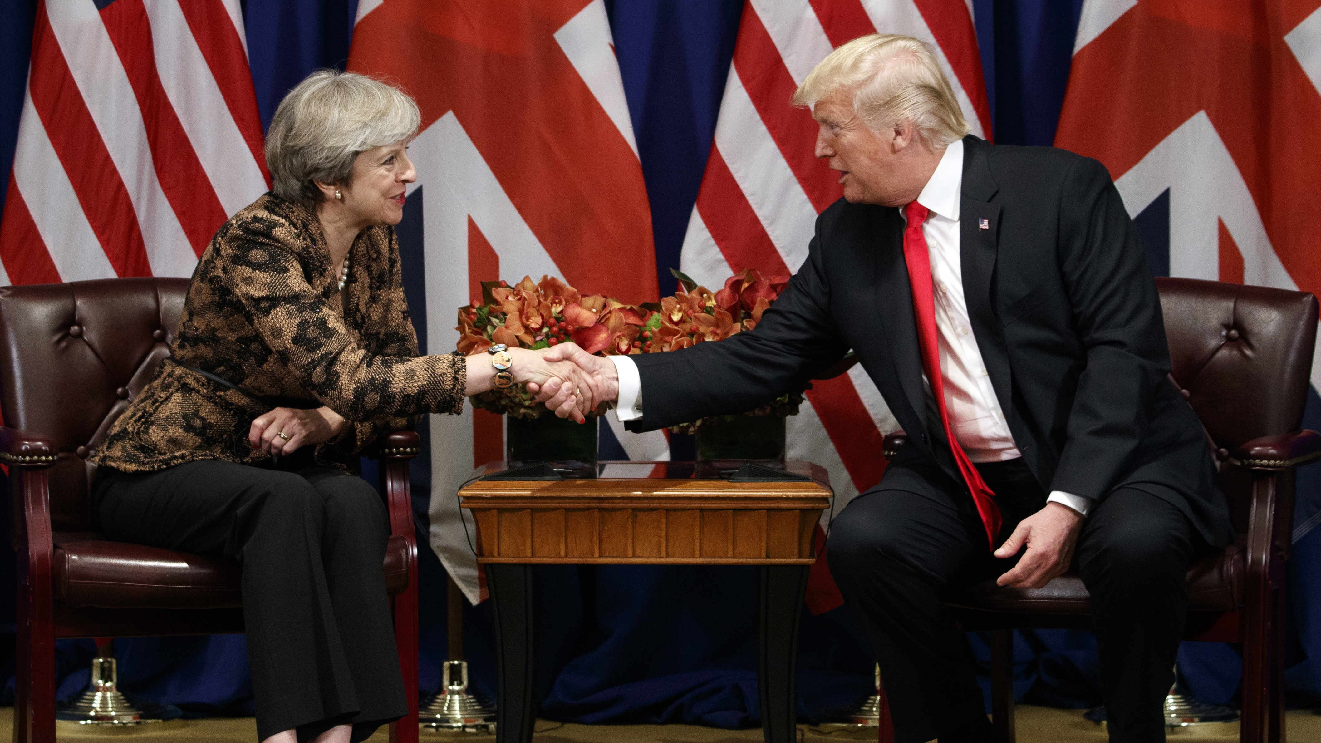 President Trump shakes hands with British Prime Minister Theresa May during their meeting at the Palace Hotel during the United Nations General Assembly, in September.