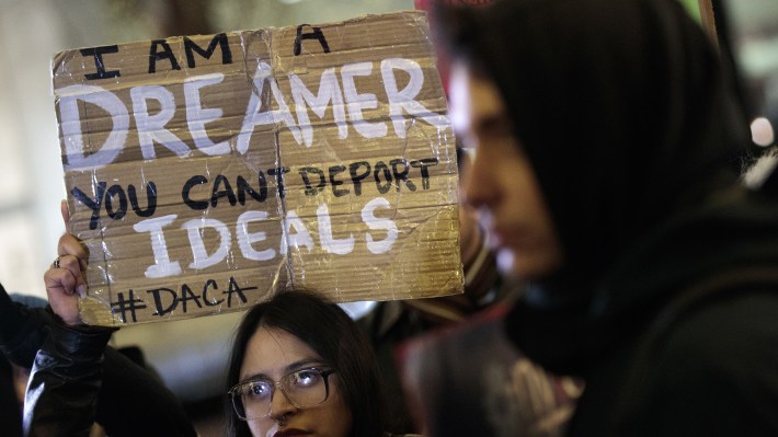 "Activists rally for the passage of a ""clean"" Dream Act, one without additional security or enforcement measures, outside the New York office of Sen. Chuck Schumer, D-N.Y., in New York City."