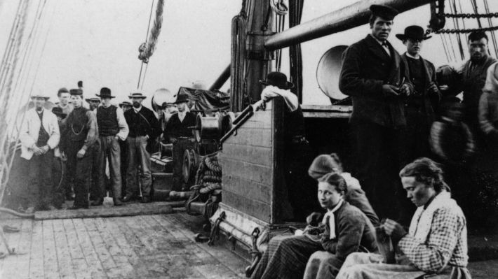 Norwegian immigrants on their way to America on the SS Hero in 1870.