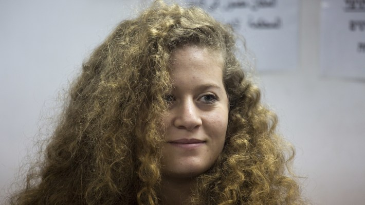 Palestinian activist Ahed Tamimi in an Israeli military court near Jerusalem on Tuesday.