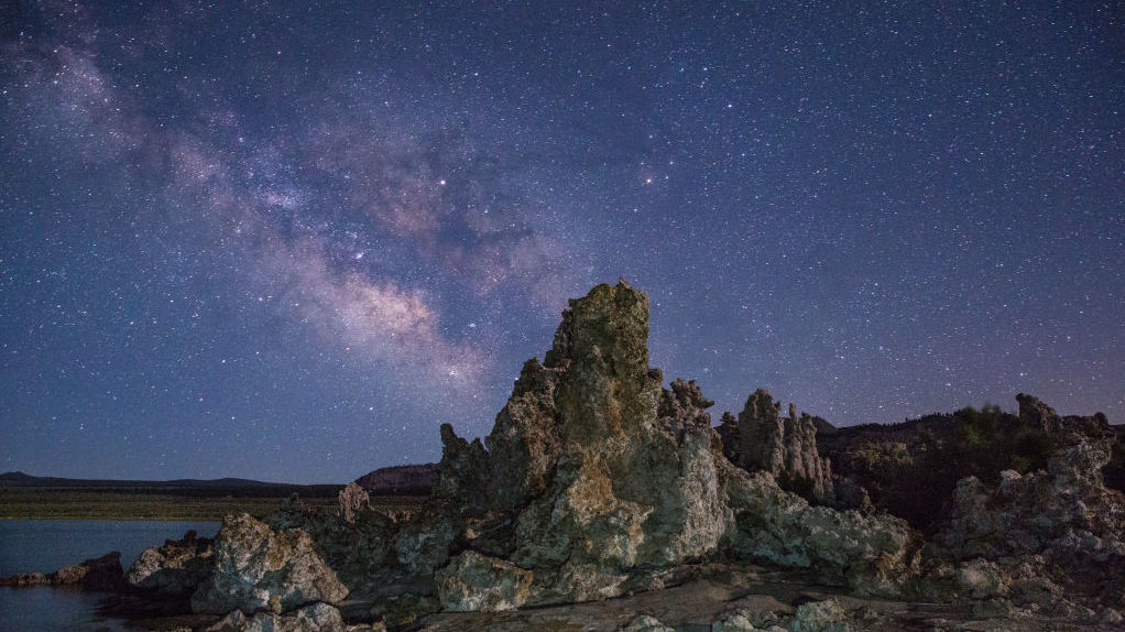 The Milky Way as seen from Mono Lake, on the eastern flank of the High Sierra Mountains, on June 28, 2017, near Lee Vining, California.