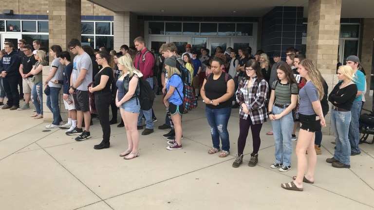 Students at Grand Ledge High School in Grand Ledge, Mich., walked out of class Wednesday in support of the Second Amendment.