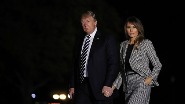 President Trump with first lady Melania Trump returns to the White House May 10, 2018, after greeting three freed Americans who had been detained in North Korea. Until Monday, May 10 was the last time the first lady had been seen publicly.