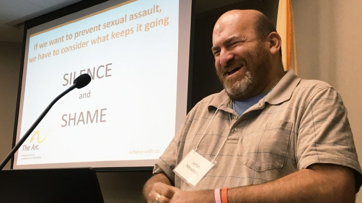 James Meadours delivers the keynote address at a summit in New Jersey to propose reforms to prevent sexual abuse of people with intellectual disabilities. Meadours, a rape survivor with an intellectual disability, travels the country to raise awareness.