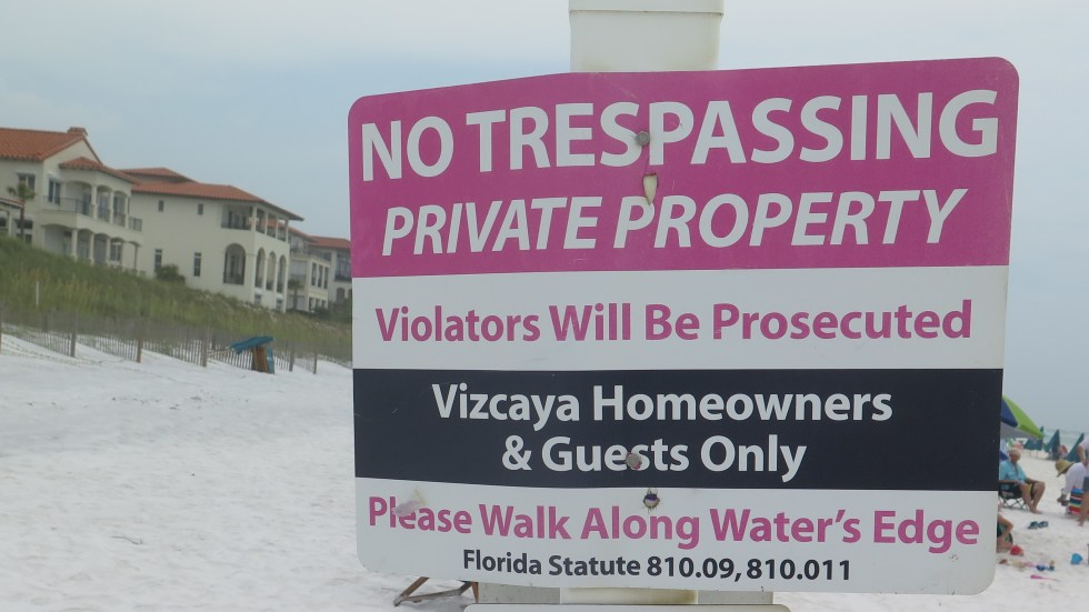 Santa Rosa Beach in Walton County, Florida with a privately-owned section that is part of Vizcaya, a residential development.