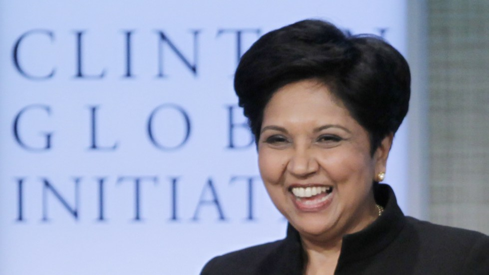 Indra Nooyi, shown here at an event in 2011, plans to stay on as PepsiCo chairman until early 2019.